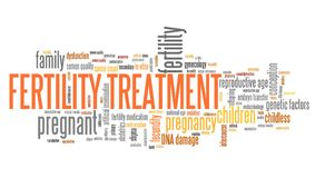Fertility issues illustration. Fertility treatment - infertility issues. Word cloud sign stock illustration