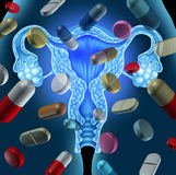 Fertility Medicine. And treating infertility concept through drugs and reproductive medication as pills and capsules floating over a human female uterus organ vector illustration