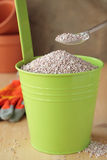 Fertilizer in green bucket. Green bucket with a fertilizer for the garden Royalty Free Stock Photos
