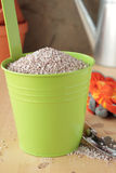 Fertilizer in metal container Stock Photo