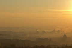 Fertilizer mill polluting the atmosphere with smoke and smog. In mures county, romania Stock Image