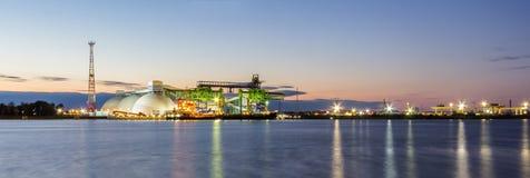 Fertilizer terminal. Fertilizer port in Riga during the sunrise stock image