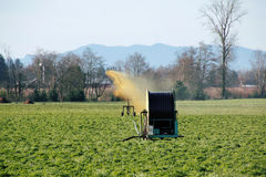 Fertilizing Farm Land in Washington State. Liquid manure is used to fertilize a field in Washington State Stock Photos
