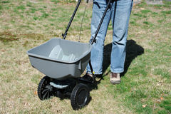 Fertilizing the lawn by fertilizer spreader Royalty Free Stock Images