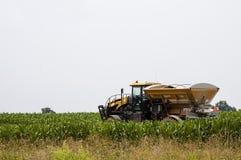 Fertilizzazione del campo di grano Immagini Stock