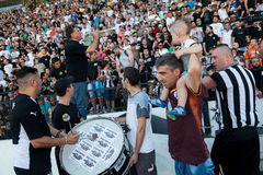 Fervent fans of PAOK football team Stock Photo