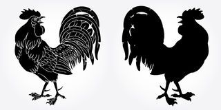 Fervent rooster black silhouette. On white background. Fiery red rooster symbol of the Chinese new year 2017 Stock Photos