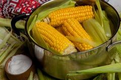 Fervura do milho doce com sal milho doce cozinhado no potenciômetro na tabela de madeira Fotografia de Stock Royalty Free