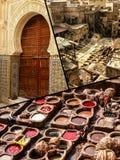 Fes传统处理皮革皮革厂拼贴画在摩洛哥 库存图片