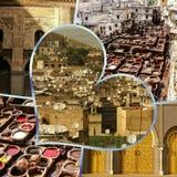 Fes传统处理皮革皮革厂拼贴画在摩洛哥 免版税库存图片