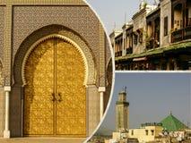 Fes传统处理皮革皮革厂拼贴画在摩洛哥 免版税图库摄影