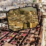 Fes传统处理皮革皮革厂拼贴画在摩洛哥 免版税库存照片