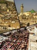 Fes传统处理皮革皮革厂拼贴画在摩洛哥 库存照片