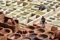 fes摩洛哥皮革厂 图库摄影