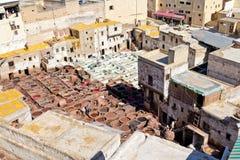 fes摩洛哥皮革厂 库存照片