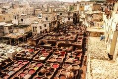 Fes皮革厂,摩洛哥,非洲老坦克菲斯` s tanneri 图库摄影