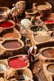 Fes皮革厂,摩洛哥,非洲老坦克菲斯` s tanneri 免版税库存照片