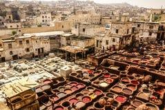 Fes皮革厂,摩洛哥,非洲老坦克菲斯的tanneri 免版税图库摄影