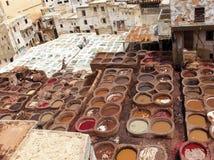 Fes皮革厂,摩洛哥,非洲老坦克菲斯的tanneri 库存图片