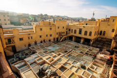 Fes老镇,摩洛哥皮革皮革厂  免版税库存照片