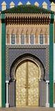 Fes,摩洛哥王宫的大金黄门  免版税图库摄影