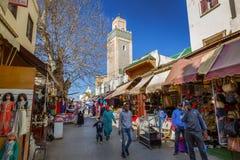 Fes,摩洛哥- 2017年3月01日:清真寺在Fes麦地那 库存照片