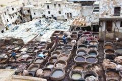 Fes, Marocco皮革厂  免版税库存照片