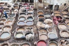 Fes, Marocco皮革厂  库存照片