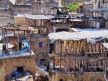 皮革厂在Fes,摩洛哥 免版税库存照片