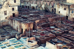 Fes leather tanneries, Morocco Stock Photo