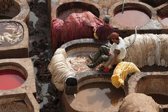 FES, MARRUECOS - 20 DE FEBRERO DE 2017: Hombres que trabajan dentro de los agujeros de la pintura en la curtiduría famosa de Chou Foto de archivo