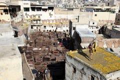 Curtiduría de Fes, Marruecos Foto de archivo libre de regalías