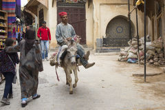 FES, MOROCCO, April 15: people walking on street of Fes, Morocco Royalty Free Stock Photo