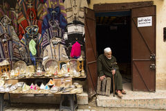 FES, MOROCCO, April 15: Unkown man selling clothes in traditiona Royalty Free Stock Photography