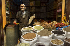 FES, MOROCCO, April 19: Unkown man selling condiments in traditi Royalty Free Stock Photos