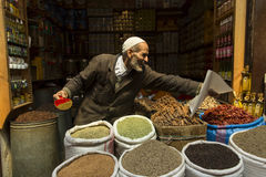 FES, MOROCCO, April 19: Unkown man selling condiments in traditi Royalty Free Stock Photography