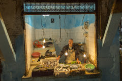 FES, MOROCCO, April 15: Unkown man selling fish in traditional s Royalty Free Stock Photo