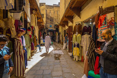 Fes, Morocco - February 28, 2017: Narrow streets in the old Medi Royalty Free Stock Image