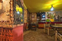 Moroccan restaurant interior stock photography