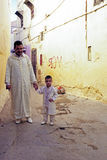 FES, MOROCCO - 15 OCTOBER 2013: Father and kid are dressed up fo Stock Photo