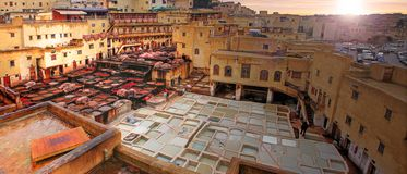 Fes in Morocco. Tanneries in the medina of Fes in Morocco stock photos