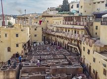 Leather Tannery in Fes, Morocco. At the Chouara Tannery in Fes, Morocco, the renowned leather goods are processed. But the pungent odors emitted during the stock photo