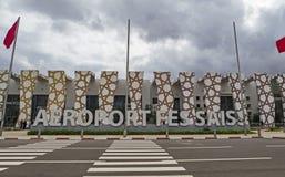 Fes Sais flygplatsyttersida royaltyfri foto