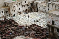 Fes tanneries #2. View at tanneries in Fes (Morocco Royalty Free Stock Image
