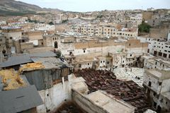 Fes tanneries #4. View at tanneries in Fes (Morocco Stock Image