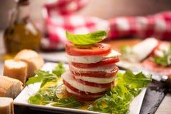 Fesh Italian Caprese. Salad with sliced mozzarella and herbs royalty free stock photos