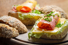 Fesh sandwich with lettuce, cheese, ham and chive Stock Photos