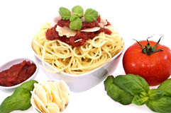 Fesh spaghetti with tomato sauce and parmesan Royalty Free Stock Photography