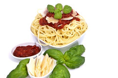 Fesh spaghetti with tomato sauce and parmesan Stock Photo
