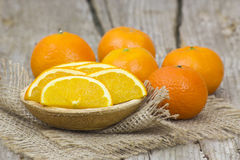 Fesh tangerines. On wooden background stock photos